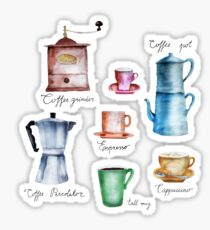 Coffee Time! Vintage Coffee Watercolor Illustration Sticker