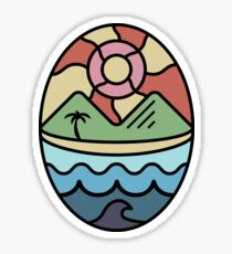 Island Landscapes with Black Outline Sticker