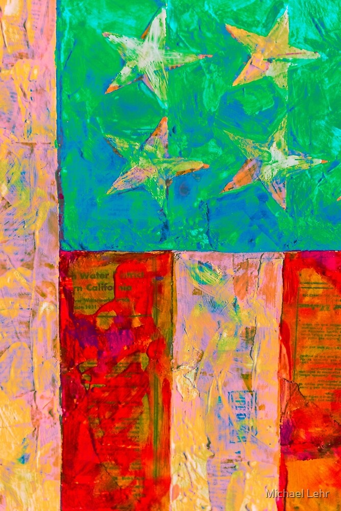 Vertical flag appropriated from Jasper Johns by Michael Lehr