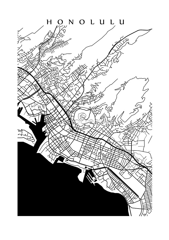 Honolulu Black and White Map by CartoCreative