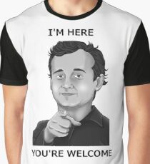 Bill Murray - I'm Here You're Welcome Black Writing Graphic T-Shirt