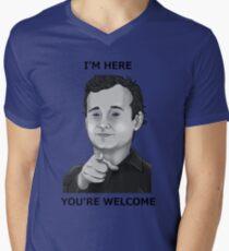Bill Murray - I'm Here You're Welcome Black Writing Mens V-Neck T-Shirt