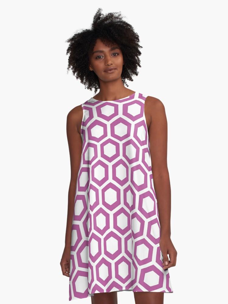 Hexagon,modern,trendy,pattern,white,cube,magnolia,dark red A-Line Dress Front