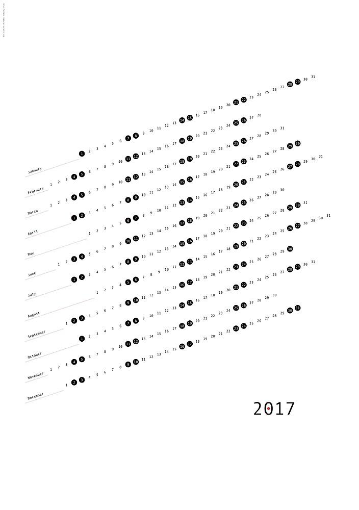 Modern Calendar Poster 2017 by Artur Parutkin