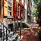 Philadelphia PA Street With Orange Shutters by Susan Savad