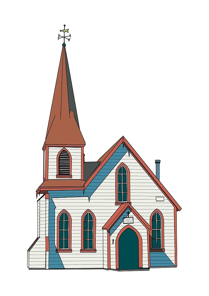Old little white church building by Thomas Olsen