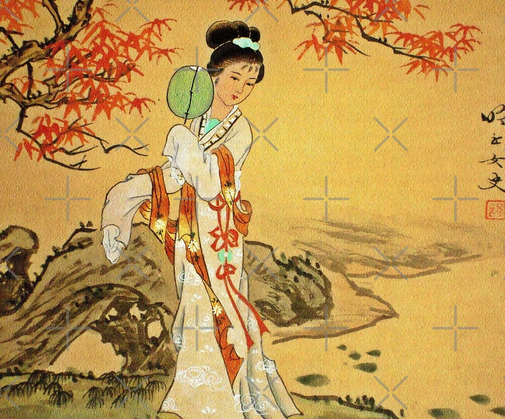Geisha in Autumn Leaves by diane  addis