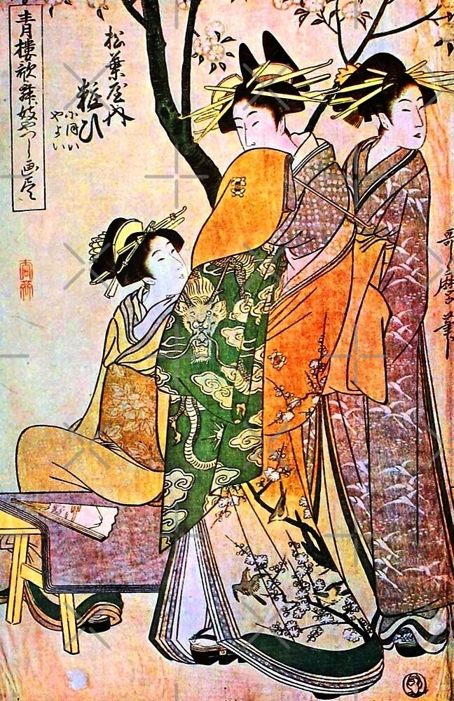 Three Geisha in a Garden by diane  addis