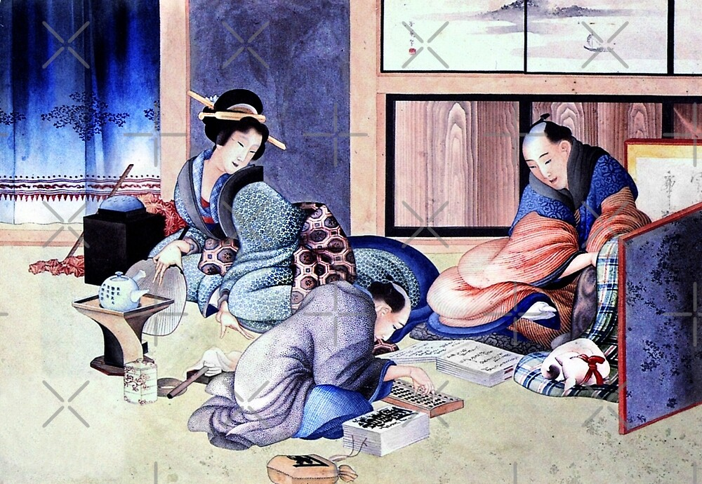 Japanese Merchants and Geisha by diane  addis