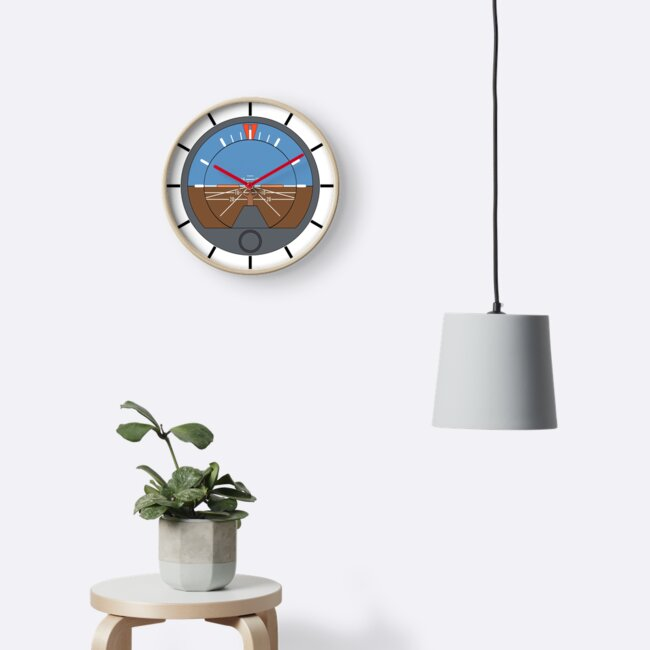 Aviation Attitude Indicator Clock by skyhawktees
