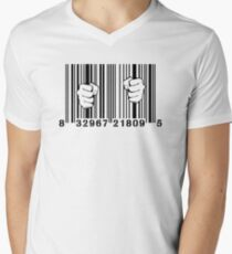 Captured By Consumerism UPC Barcode Prison Men's V-Neck T-Shirt