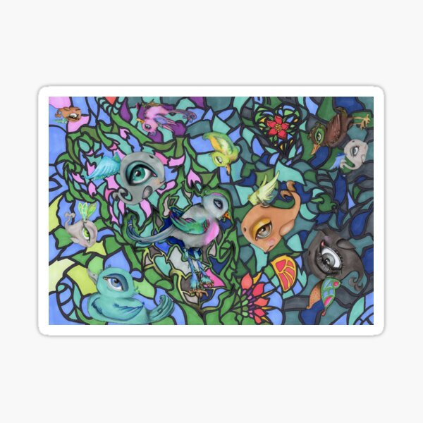flying creatures mosaic Sticker