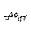 Chicks on clothes line by Trish Loader