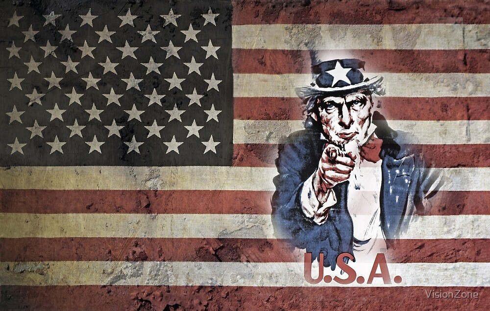 US Flag with Uncle Sam. by VisionZone