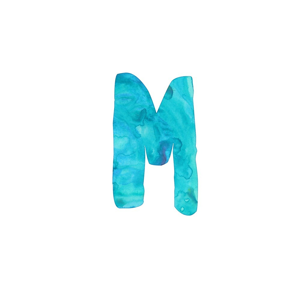 'M' BLUE Watercolor Initial Design  by siennawillow