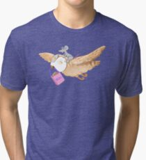 Owl and mouse in search of books Tri-blend T-Shirt