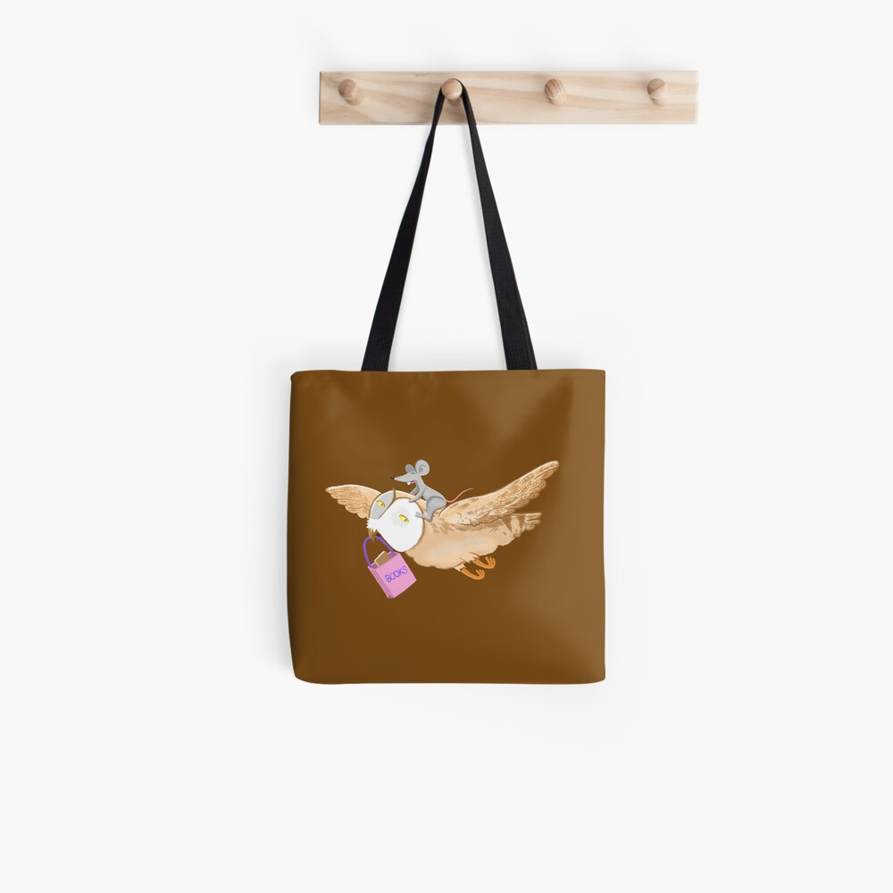 Owl and mouse in search of books Tote Bag