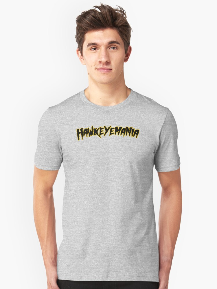 HAWKEYEMANIA (Black Text w/ Gold Outline) Unisex T-Shirt Front