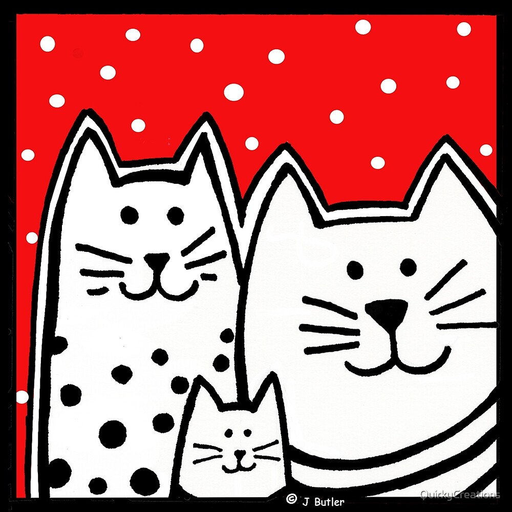 Kitty Family in Red by QuirkyCreations