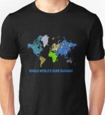 Whole World's Gone Bananas - World Map Sticker Art Unisex T-Shirt