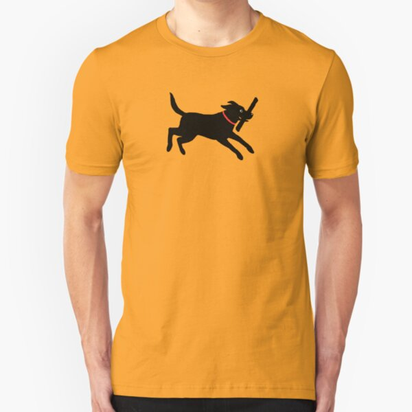 Happy Black Lab Running | Cute Labrador Retriever Slim Fit T-Shirt