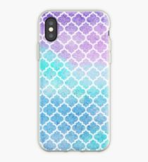 Faded gentle azure moroccan tiles iPhone Case