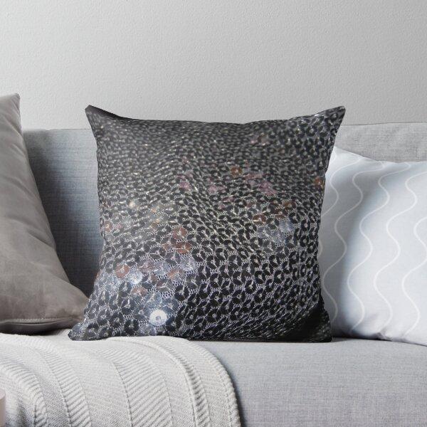 Black Glitter Throw Pillow