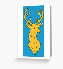 orange on blue deer Greeting Card