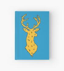 orange on blue deer Hardcover Journal