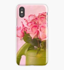 Pink Roses In Green Watering Can iPhone Case
