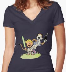 Calvin and Hobbes Star Wars Women's Fitted V-Neck T-Shirt