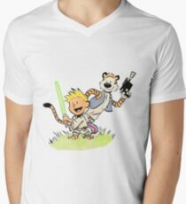 Calvin and Hobbes Star Wars Mens V-Neck T-Shirt