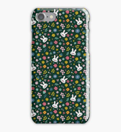 Bunny Wearing a Scarf and Flowers iPhone Case/Skin