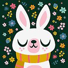 Bunny Wearing a Scarf and Flowers by jsongdesign