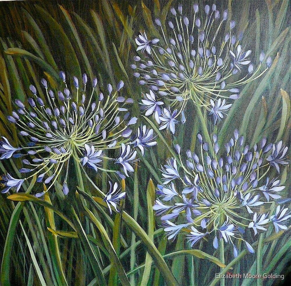 Blue agapanthus 2006 Acrylic on canvas by Elizabeth Moore Golding