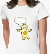man in radiation suit cartoon Women's Fitted T-Shirt