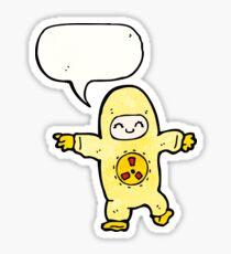 man in radiation suit cartoon Sticker