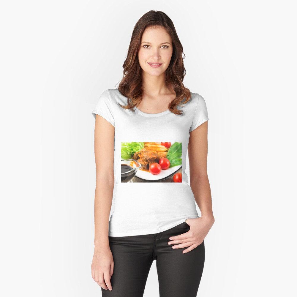 View close-up on a meal of beef stew with pasta penne nad herbs Women's Fitted Scoop T-Shirt Front