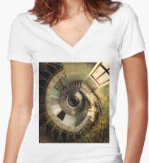 Spiral staircase in pastels Women's Fitted V-Neck T-Shirt