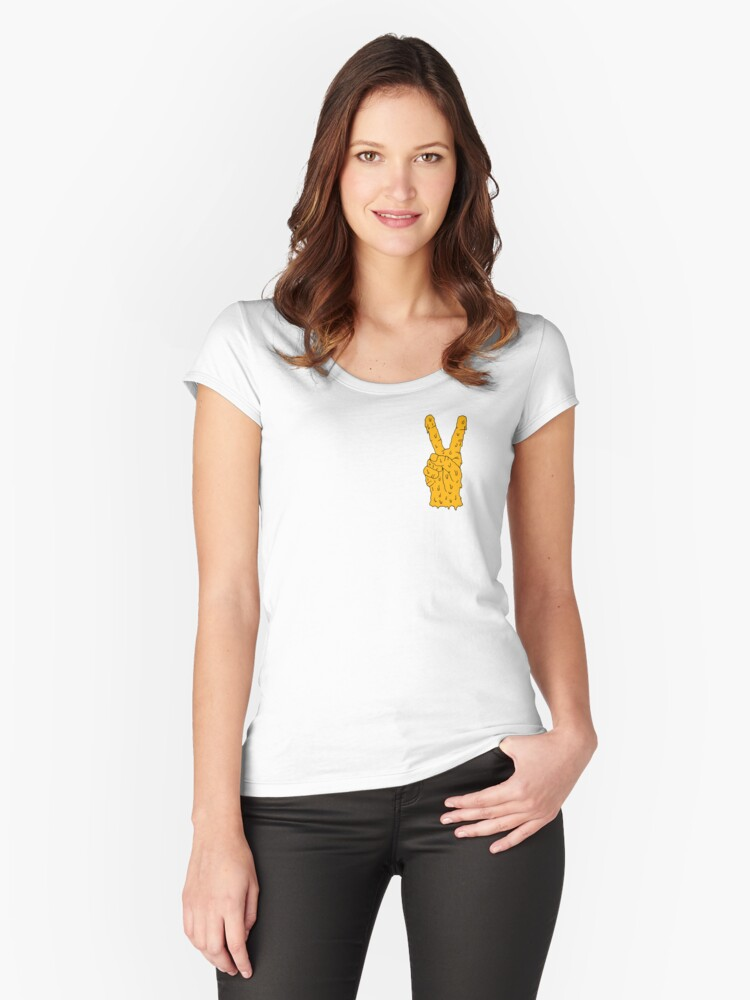orange hand Women's Fitted Scoop T-Shirt Front