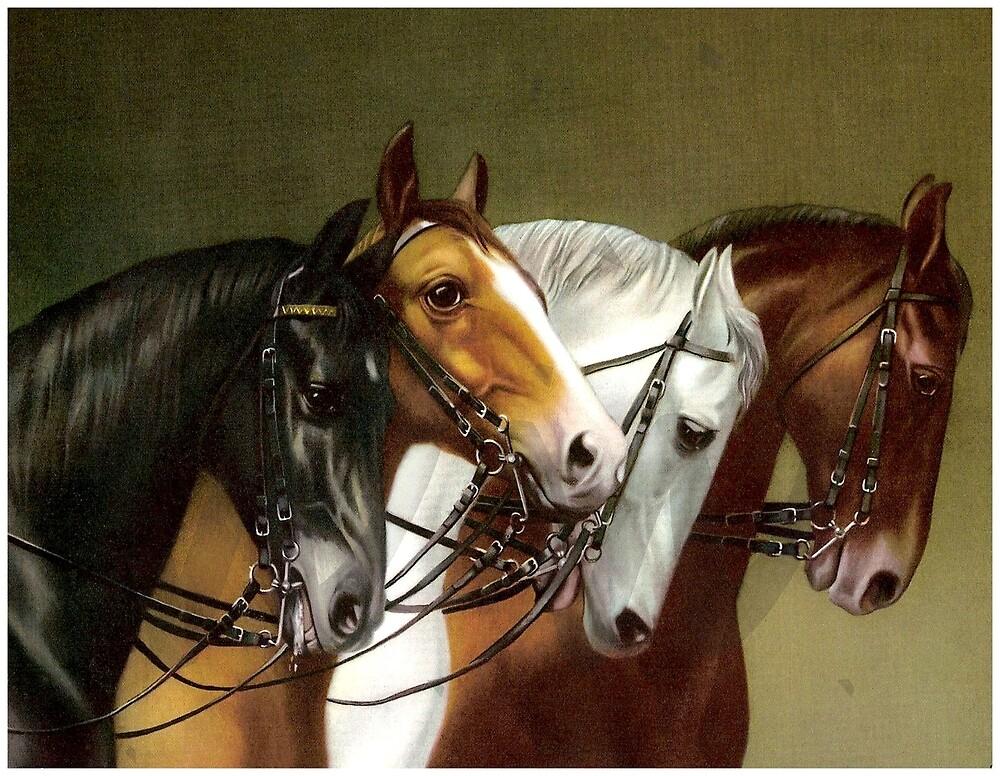 HORSE TEAM; Vintage German Painting Print by posterbobs