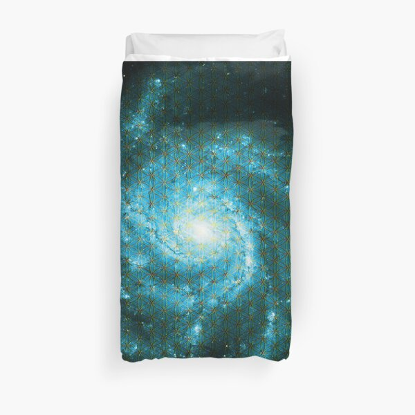 Pinwheel Galaxy [Blue Version] | Sacred Geometry Pattern Duvet Cover