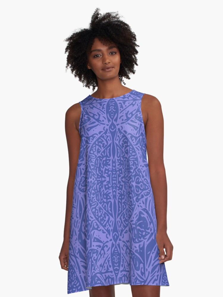 Plantain Lilies - Blue A-Line Dress Front