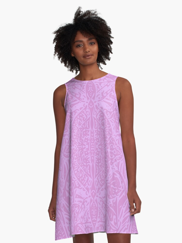 Plantain Lilies - Pink A-Line Dress Front