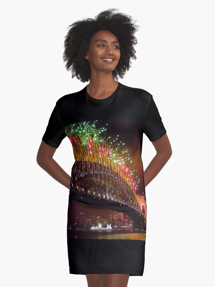 New Year 2017 Graphic T-Shirt Dress Front