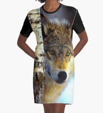 TIMBER WOLF; Vintage Wilderness Print Graphic T-Shirt Dress