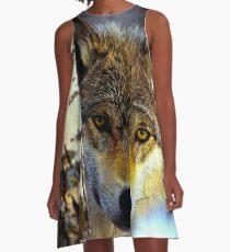 TIMBER WOLF; Vintage Wilderness Print A-Line Dress