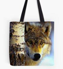 TIMBER WOLF; Vintage Wilderness Print Tote Bag