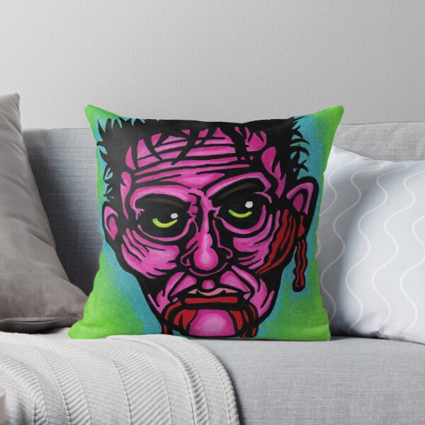 Pink Zombie Throw Pillow