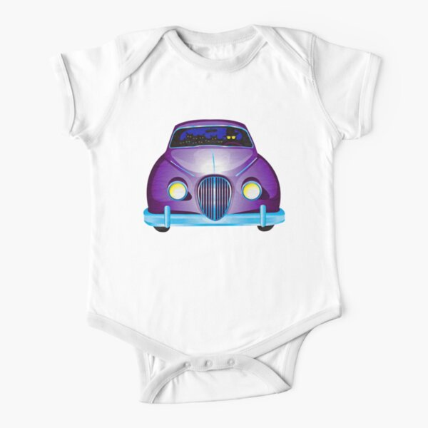 Carpool Cats Short Sleeve Baby One-Piece
